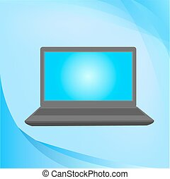 Laptop Isolated on Blue Background. Vector Illustration.