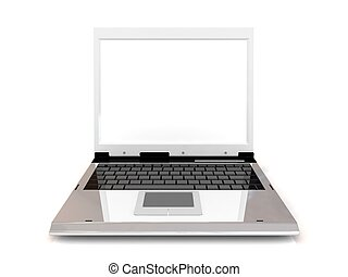 Laptop isolated on white background with blank screen.