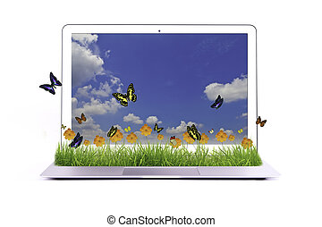 Laptop Isolated with yellow flower on grass and butterfly