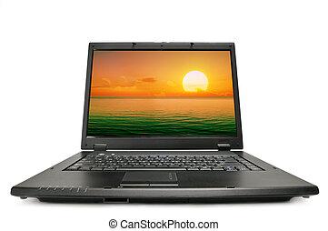 laptop, isolerat, på, a, white.