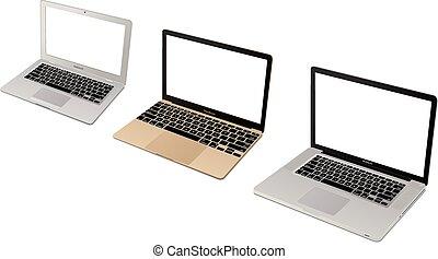 laptop, jabłko, zbiór