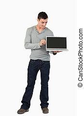 laptop, jego, pokaz, samczyk młody