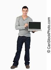 laptop, jego, przedstawiając, samczyk młody