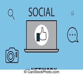 laptop, képben látható, társadalmi, hálózat