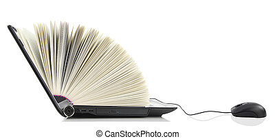 laptop, könyv, számítógép
