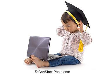laptop, kapelusz, dziewczyna, skala