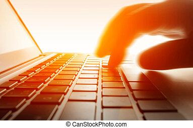 laptop, keyboard., typing