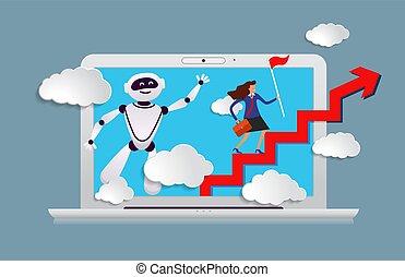 laptop, kierunek, głowa, prompts, asystent, handlowy, ruch, ...