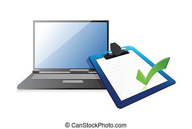 laptop, klemmbrett, checkmark