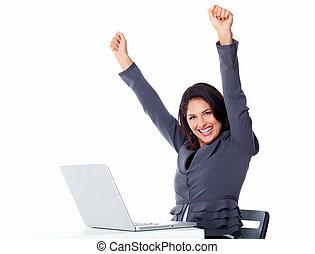 laptop, kobieta, computer., handlowy, szczęśliwy