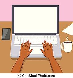 laptop, kobieta, czarnoskóry, siła robocza