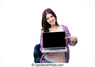 laptop, kobieta, ekran, młody, palec, pokaz, szczęśliwy