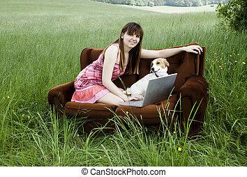 laptop, kobieta, fied