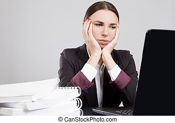 laptop, kobieta handlowa