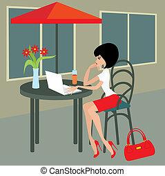 laptop, kobieta, kawiarnia, młody