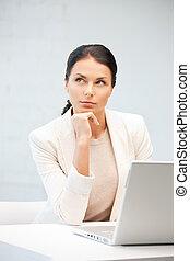 laptop, kobieta, komputer, zadumany