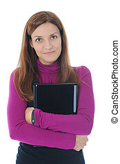 laptop, kobieta, leżący, podłoga