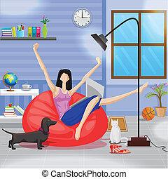 laptop, kobieta, leżanka, pracujący, posiedzenie
