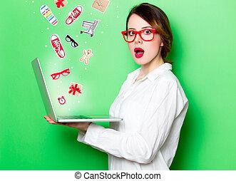 laptop, kobieta, młody