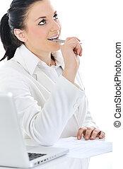laptop, kobieta, pracujący, handlowy, biurko