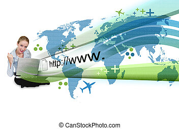 laptop, kobieta, rzut, internet