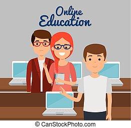 laptop, kobieta, wykształcenie, nauczyciel, online