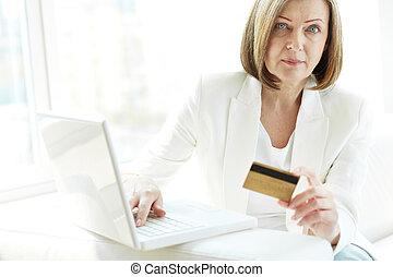 laptop, kobieta