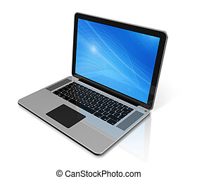 laptop komputer, odizolowany, na białym