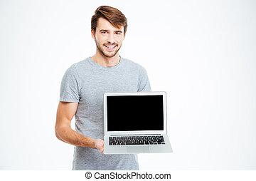 laptop komputer, okienko osłaniają, pokaz, człowiek