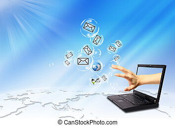 laptop, konvolut, email, befordre