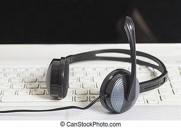 laptop, kopfhörer, kommunikation, edv, keyboard., begriff