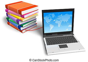 laptop, książki, związany, stóg
