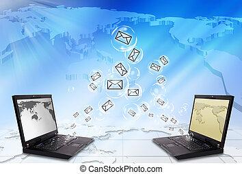laptop, kuvert, email, sända