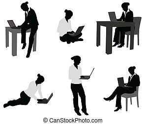 laptop, kvinde, arbejder, hende