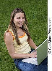 laptop, kvinde