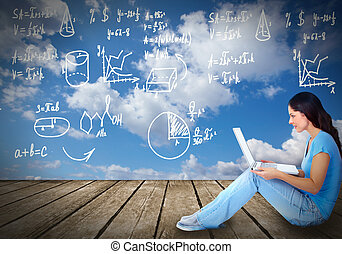 laptop, kvinde, unge, computer.