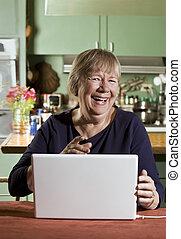 laptop, kvinna, dator, senior
