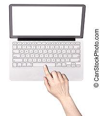 laptop, kvinna, isolerat, hand