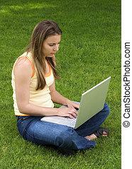 laptop, kvinna