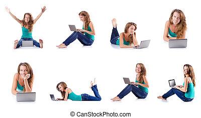 laptop, kvinna, ung, arbete
