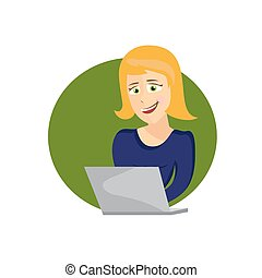 laptop, kvinna, ung, illustration, tecknad film