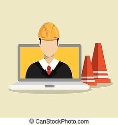 laptop, lavoratore costruzione, sotto