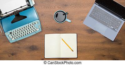 laptop, legno, elettrico, fondo, macchina scrivere