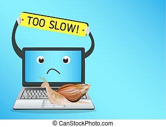 laptop, lento, lumaca