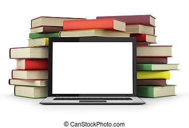 laptop, libri