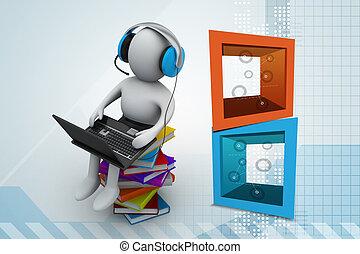 laptop, libri, uomo, 3d
