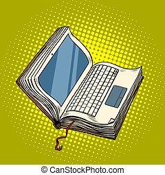 laptop, libro, educazione linea, biblioteca elettronica