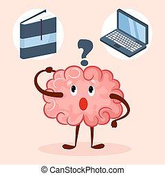 laptop, libro, illustration., cartone animato, cervello, educazione, o, vettore, carattere, carino, metodo, scegliere