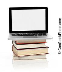 laptop, ligado, um, pilha livros