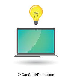 laptop, lightbulb